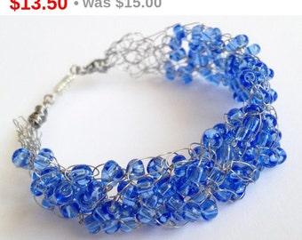 Valentine's Sal Blue silver bracelet/ Crochet wire bracelet/  Crochet bracelet/ Handmade wire crochet jewelry/Boho wire bracelet/  Croche...