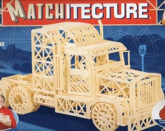 MATCHSTICK MODEL KIT Trailer Truck Craft Kit, Brand New