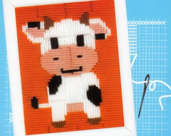 Small Cow LONG STITCH KIT for Kids, Brand New