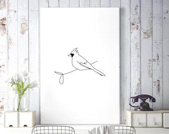 Cardinal Bird Art, Minimalist Poster, Large Printable Art, Bird Wall Art, Bird Print, Minimalist Drawing, Bird Printable, Digital Download