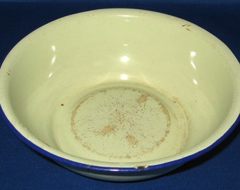 Enamelware Bowl Vintage Enamel Avocado Green Blue Rim 1930s Chippy Kitchenalia