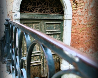 Venice Italy, bridge,water, tuscany,vintage door,color OR black & white fine art photo print,wall art decor,ready to hang,architecture print