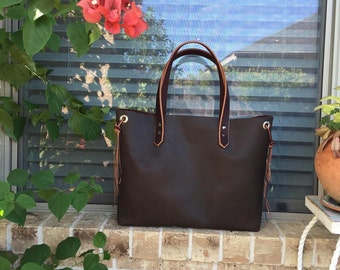 Tan Leather Tote Bag • Large Everyday Tote • Large Beza Market Bag With Tassel