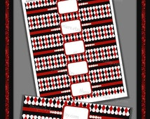 Vegas Casino / DIY Water Bottle Labels / 1920s Glamour Theme / Red Black White / Diamond Pattern Gatsby / Printable PDF / Instant Download