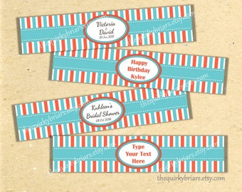 Coral and Turquoise / Aqua / Water Bottle Labels / Beach Theme / Printable PDF / Birthday / Shower / Editable Instant Download
