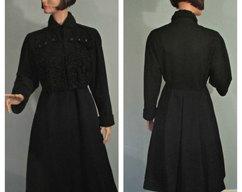 1950s Coat /New Look /Princess Style /Black /Wool /Curly Lamb /Size Med/Lrg