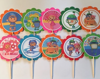 Team Umizoomi birthday decor,Umizoomi cupcake toppers, party tags,Umizoomi party decor,Umizoomi party favors(set of 12)