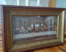 Vintage Religious Print of The Last Supper by Da Vinci framed C&A Richards, Boston, Mass
