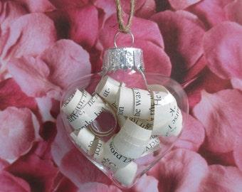 Pride and Prejudice glass ornament...Valentine's Day...anniversary...Christmas...Graduation...teacher gift...literary gift...birthday