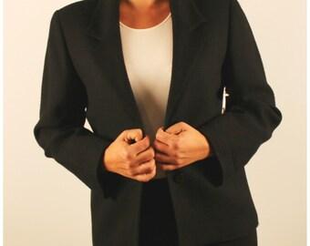 Vintage blazer/black wool blazer/boyfriend blazer oversized 1980s 80s medium