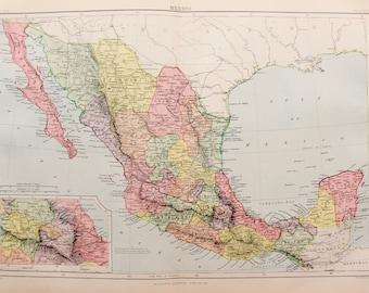 Antique Colour Map of Mexico, Central America. Encyclopedia Britannica, 1870s