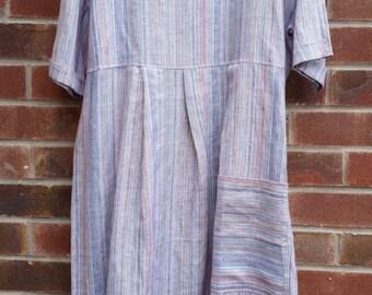 Striped pure linen maxi dress.