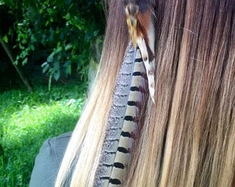 Feather hair extensions / feather clips extensions / hair feather extensions / bohemian feather hair extension / feather hair piece /