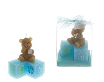 Bear and Blocks Candle Gift in Pink or Blue