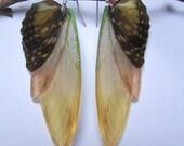 boucles d'oreilles argent vintage elfique fée ailes libellule papillons marron jaune