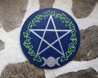 Triple Moon pentacle, pagan altar plate, wiccan offering dish, pagan ritual tools, hand painted pentagram, pagan altar decor, pagan gifts
