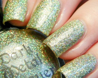 Bright eyes - Lime-gold Holographic glitter polish (11ml)