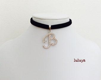 Black Handmade Stretch Choker Necklace Initial B Crystal Charm Gift Birthday