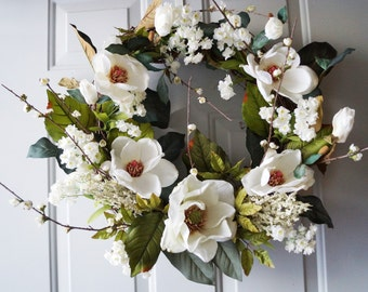 Cherry Blossom Magnolia Wreath, Spring Wreath, White Cherry Flowers Wreath, White Magnolia Wreath, Magnolia Leaves Ready to Ship