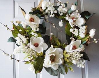 Cherry Blossom Magnolia Wreath, Spring Wreath, White Cherry Flowers Wreath, White Magnolia Wreath, Magnolia Leaves