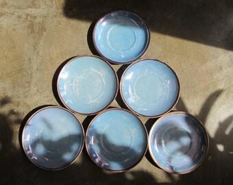Vintage German Blue Lusterware Fraueuth Saucers Set of 6