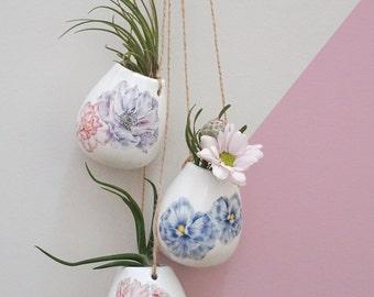 BUNDLE BUY Handmade Plant Pot, Indoor Plants Pot, Air Plant Holder, Ceramic Planter, Pick 3 x Ceramic Hanging Plant Pots, Mother's Day Gift