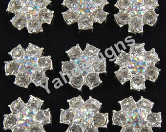 Set of 10pcs 22mm Metal Sparkly Rhinestone Brooch-Flower Crys0tal Style-Wedding & Children Headbands or Hair Clips-YTB69