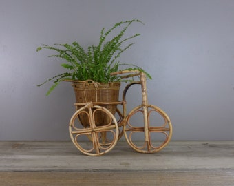 Vintage rattan plant stand | tricycle plant stand | bicycle plant stand | #2194