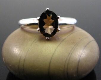 rings for women, Smoky quartz ring silver, quartz ring, silver ring quartz, silver ring stone, ring for girlfriend size 5 6 7 8 9 10 11