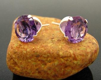 Violet genuine amethyst earrings, amethyst earrings,  amethyst studs - amethyst 8 mm