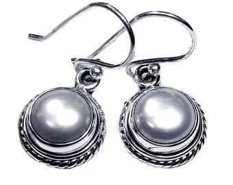 Sterling Silver Round Pearl Earrings