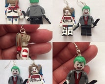 Lego Suicide Squad Joker and Harley Quinn Earrings