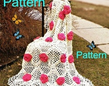 Sale- Instant Download Crochet Pattern Flower Granny Square Irish Rose Granny Afghan Blanket Throw