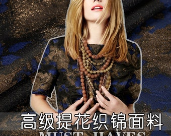 165CM Wide Jacquard Golden and Blue Brocade Fabric for Spring and Autumn Dress Clothes Jacket Coat E221