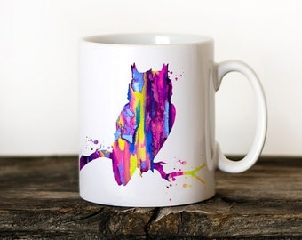 Eule 2 Becher Aquarell Keramik Becher Einzigartige Geschenk Vogel Kaffee  Becher Tier Becher Tee Tasse Kunst