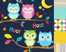 50% DISCOUNT SALE Owl Digital Clipart , Owl Clipart, Sleeping Owl Clipart
