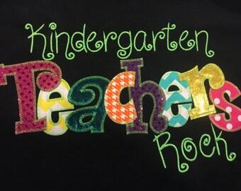 Kindergarten Teacher or any Grade Level Applique Blingy T-Shirt