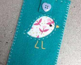 Folk bird phonecase, Turquoise iPhone sleeve, Mobile Phone cosy, Embroidered felt bird, Fabric cell sleeve, Chick cellphone cover, Cute gift