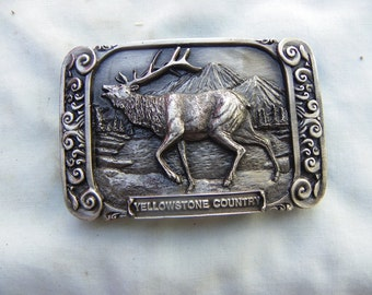 Vintage • Bugling Elk Buck Belt Buckle | Siskiyou 1986 Brass Yellowstone Country | Made in USA