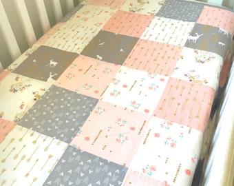 Baby Girl Cot/ Crib Patchwork Quilt Blanket Pink and Grey Woodland Deer