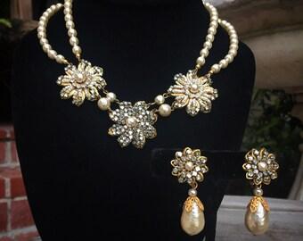 Miriam Haskell baroque pearl and filigree rhinestone bridal set