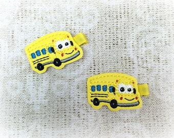 Bright Yellow School Bus Hair Clippies, School Bus Clip, Back to School Clip, School Clip, Girls Hair Clip, Back to School Bow, Felt Clip