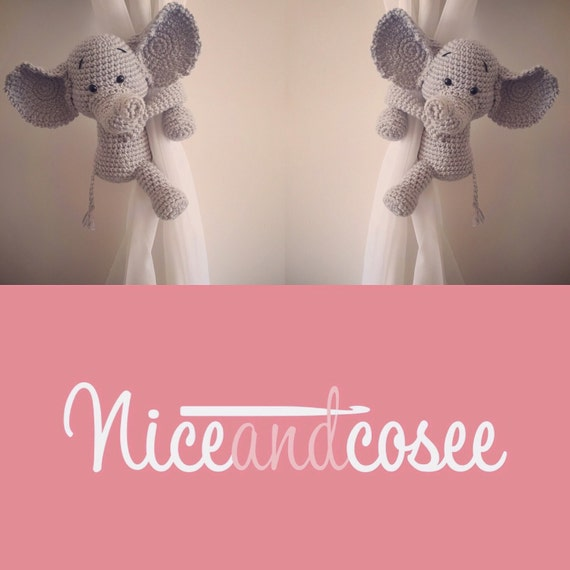pair of elephant curtain tie backs, nursery, crochet, handmade