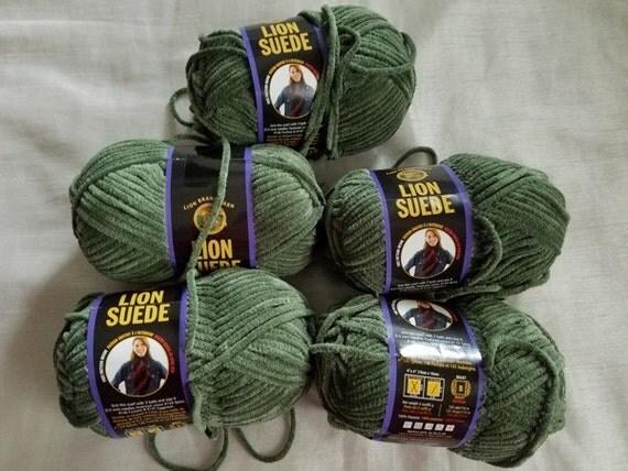 Lion Brand Suede Yarn 5 Skeins Sage Suede Yarn Lion Brand