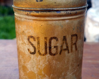 Old Vintage Gold Sugar Tin/Container/Canistor
