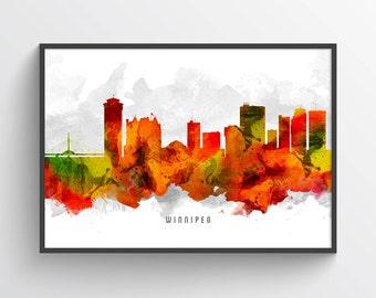 Winnipeg Poster, Winnipeg Skyline, Winnipeg Cityscape, Winnipeg Print, Winnipeg Art, Winnipeg Decor, Home Decor, Gift Idea, CAMBWI15P