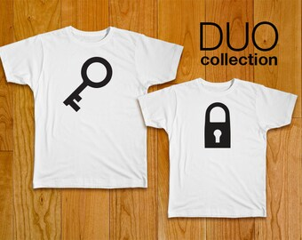 Lock & Key Couples T-Shirts with Optional Personalization