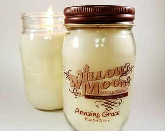 Amazing Grace, soy candle, handmade soy candle, home decor, philosophy, candles made in USA, made in USA, candles for sale, scented candle