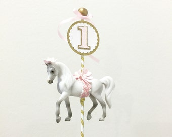 Carousel horse cake topper with number