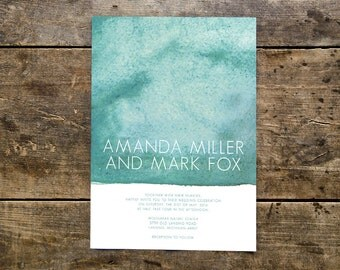 turquoise watercolor wedding invitation // THE WATERCOLOR // full page teal painted modern bohemian wedding // simple white font // DEPOSIT